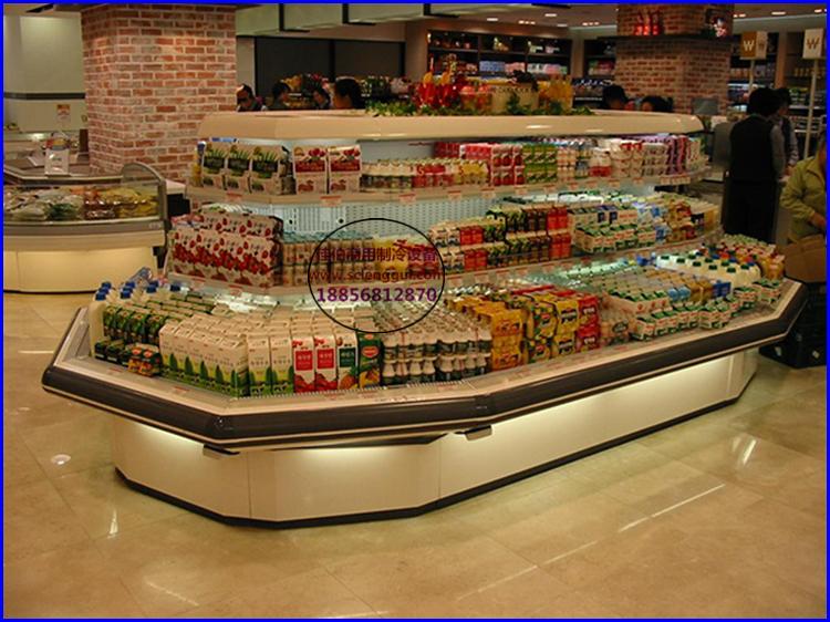 超市酸奶饮料冷藏柜图片