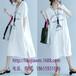 夏季新款原创设计韩版女装清濯埃菲尔铁塔白色纯棉长款休闲女T恤