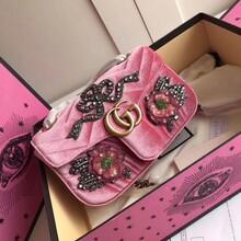 古奇Marmont水晶花朵贴花刺绣链条包工厂图片