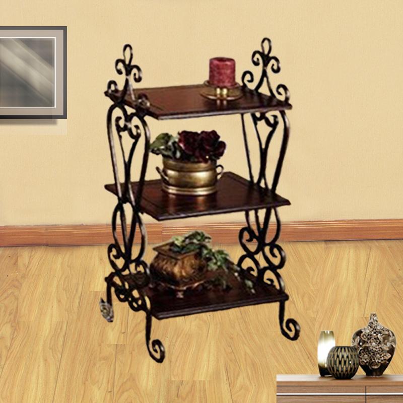 复古置物架欧式玄关桌铁艺床头柜客厅陈列架实木小方