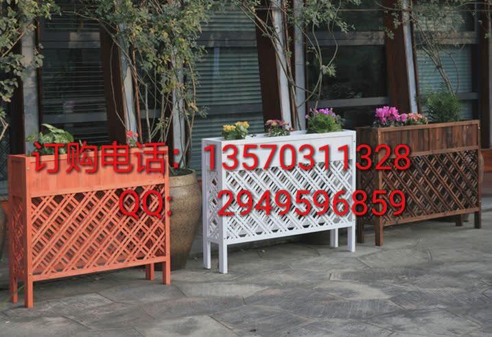 广东园艺花盆围栏隔断栅栏花架防腐木长方形网格花槽木质花箱