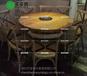 創意主題火鍋桌餐廳實木圓形餐桌復古工業風電磁爐燒烤餐桌