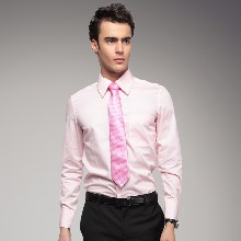男士长袖衬衣商务正装新款韩版修身免烫粉红斜纹职业衬衫