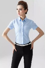 女装时尚修身韩版女士浅蓝细竖纹纹短袖衬衫