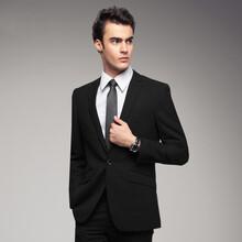 男士新派威商务正装新款韩版修身男上衣中竖纹2扣套装