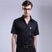 男士黑衬衫短袖夏装商务正装新款韩版修身黑色职业衬衫