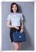 女士时尚修身韩版蓝色隐形扣短袖衬衫专柜正品