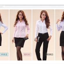 女士商务正装修身韩版免烫紫罗兰V领斜纹长袖衬衫