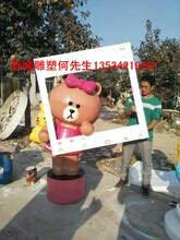 搞笑动漫卡通公仔玻璃钢布朗熊和可妮兔雕塑模型专家图片