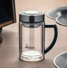 西安高档品牌希诺玻璃杯批发免费刻字定制双层水晶手柄会议玻璃杯