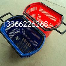 超市购物篮带轮购物篮拉杆式购物篮大中小号购物筐图片