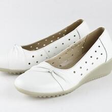 白色网眼皮质凉鞋护士鞋