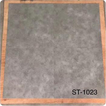 水泥纹PVC地板厂家防水灰色方块石塑地砖佛山批发办公室工程地胶