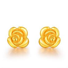 亚西亚银饰批发-玫瑰花黄金耳钉,925银饰批发,泰银批发