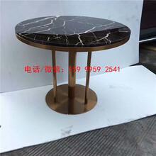 罗湖区白色石圆桌,中餐厅白色石材桌子,深圳宝安区高档石材桌子金色不锈钢
