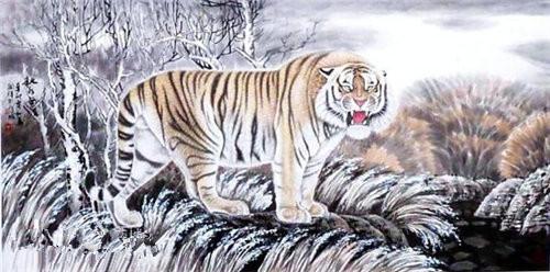 壁纸动物国画虎老虎桌面500_248