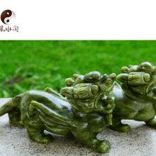 风水阁玉石貔貅»青玉招财貔貅»岫玉旺财金钱貔貅25CM