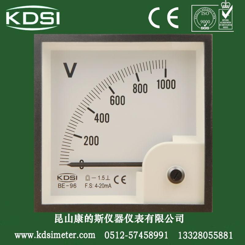 供应0-1000v电压表指针式电压表be-96dc4-20ma1000v