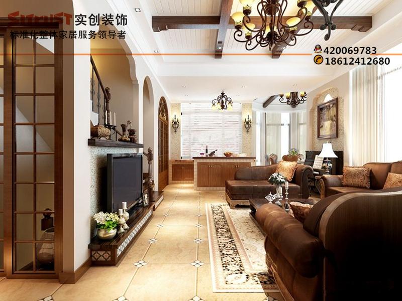 别墅装修实创装饰装修远大美域270平美式风格装修效果图
