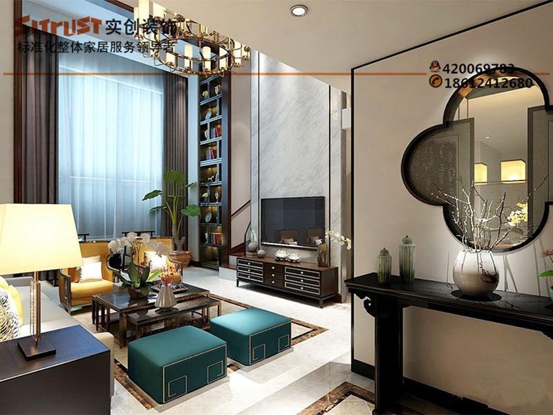 实创装饰之别墅装修西山华府270平新中式风格效果图