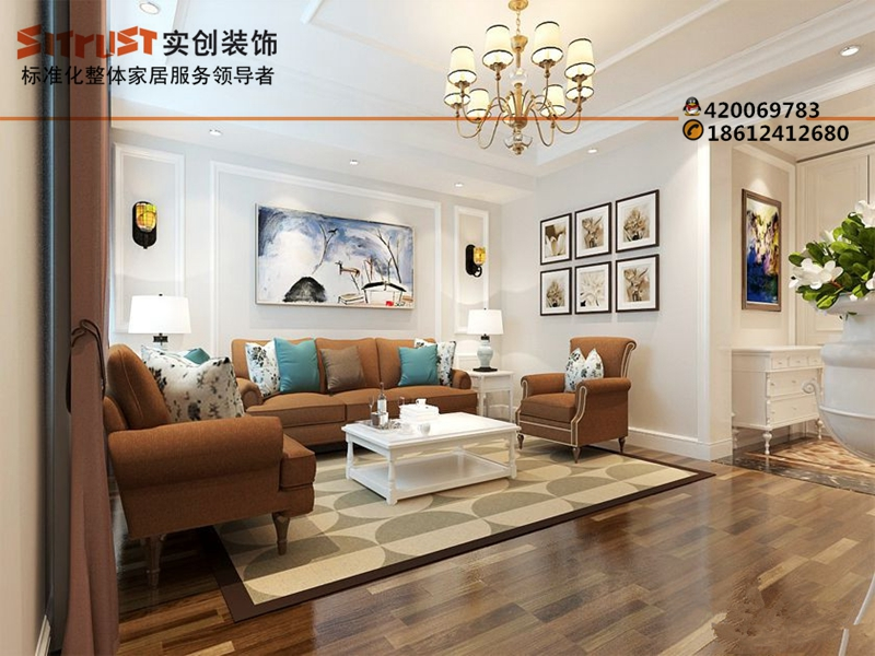 实创装饰缔造高层次美式风格效果图高教新城260平别墅装修