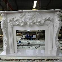 汉白玉手工雕刻壁炉架