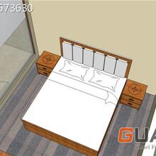 廣東現代優冠品牌商務酒店客房家具床,公寓型床頭柜
