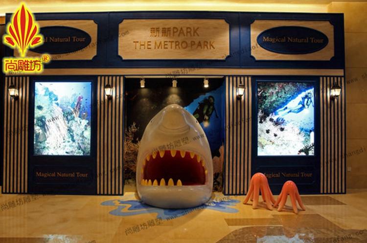 尚雕坊来图定制商场中西式茶餐厅墙面装饰大型鲨鱼海洋挂件海洋动物玻图片