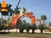 東南亞風格大象門頭雕塑裝飾象牙白大門門頭裝飾玻璃鋼門頭