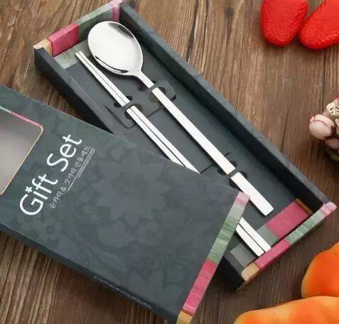 锈钢304筷子勺子礼品套装礼品两件套筷子勺子-韩式不锈钢报价 厂家