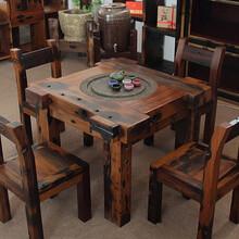 万达老船木茶桌船木客厅茶几功夫茶台乌金石桌椅组合简约沉船木家具图片