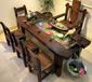 天津老船木功夫茶台茶几船木循环流水茶桌椅组合