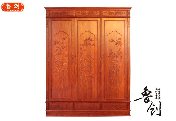 花鸟大衣柜:  规格:1/g  尺寸:160*60*210  材质:非洲花梨木(刺猬