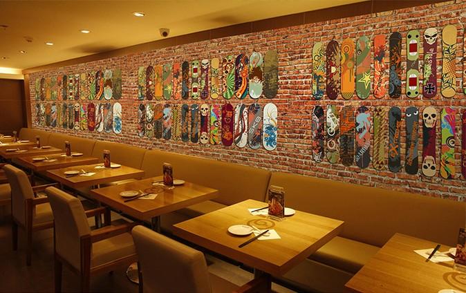 欧式复古红砖墙砖纹街头涂鸦大型壁画咖啡厅酒吧滑板
