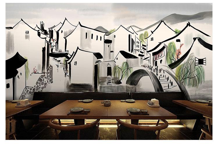 3d复古手绘水墨画江南建筑壁纸玄关客厅饭店餐厅酒楼大型墙纸壁画