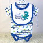 荆州外贸婴儿装批发100%纯棉宝宝三角爬服口水巾两件套套装