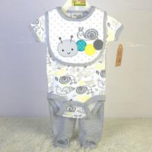 外贸婴儿装整单100%纯棉宝宝外贸套装口水巾三角哈衣裤子三件套图片