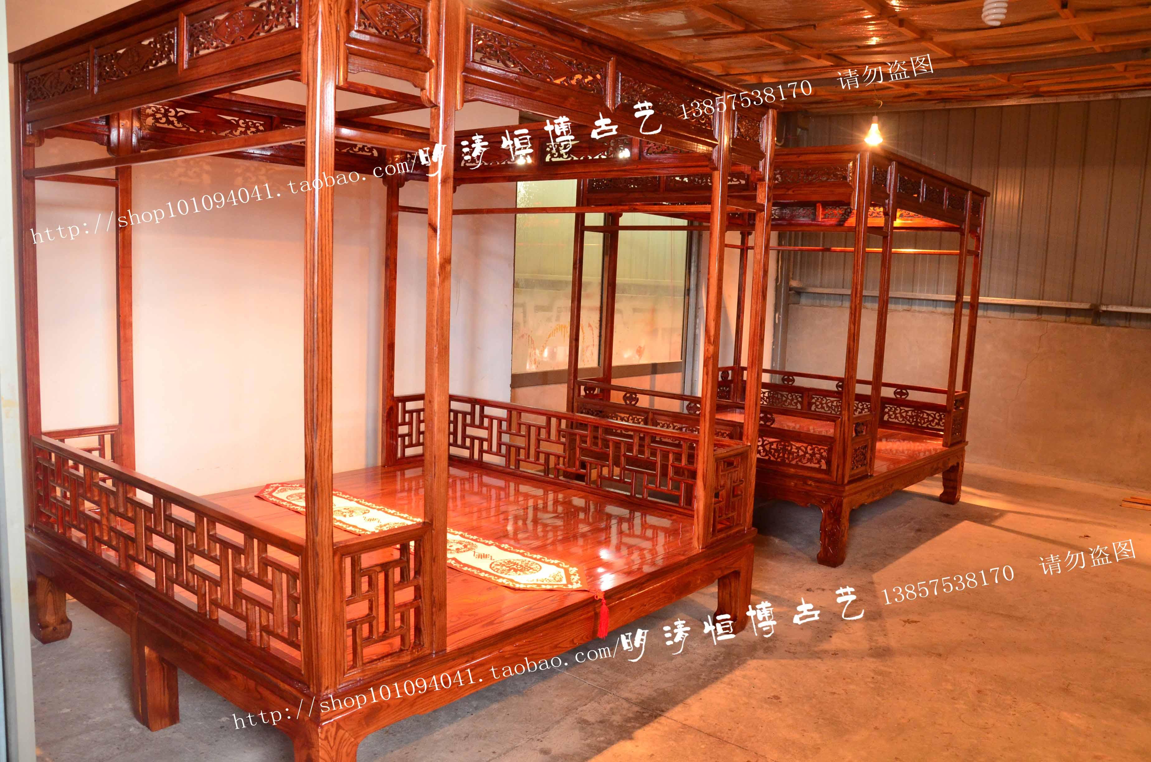 架子床仿古实木床中式架子床仿古木雕床明清古典床雕花围栏