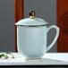 青色陶瓷描金茶杯定制、水杯辦公室會議杯,陶瓷茶杯刻字