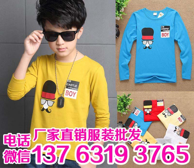韩版中童男童T恤批发时尚优质弹力棉童装印花T恤批发新款童装印花T恤批发