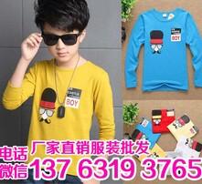 韩版中童男童T恤批发,时尚优质弹力棉,童装印花T恤批发,新款童装印花T恤批发图片