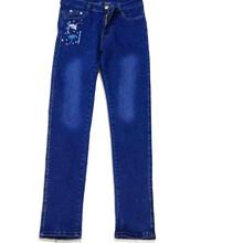 新款时尚中低腰牛仔裤批发热销小脚刺绣学生牛仔裤批发