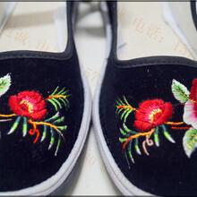 绣花女手工布鞋厂家鸳鸯绣花女士布鞋批发图片