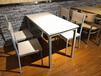 天津工地餐桌小吃店食堂餐桌椅一桌多椅一體