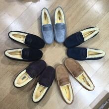 冬季真皮男鞋欧美时尚圆头豆豆鞋加绒保暖鞋图片