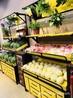 层格式货架木质水果架蔬菜带镜框展架超市专用促销台厂家直销