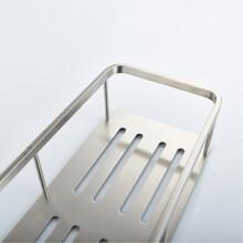 單層長方形洗漱框,不銹鋼洗手臺旁壁掛的置物架圖片