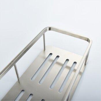 單層長方形洗漱框,不銹鋼洗手臺旁壁掛的置物架