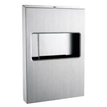 鑲嵌入墻式紙巾架1/4不銹鋼坐廁紙盒