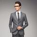 男士商务正装新款韩版修身显瘦男上衣深灰中竖纹2扣套装